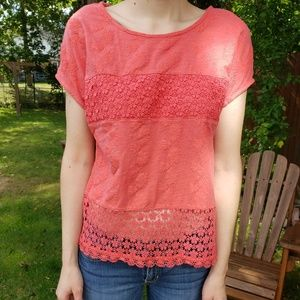 Coral Floral Lace Patterned Shirt   Sheer Bottom